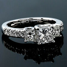 2 CT Diamond Engagement Ring Princess Cut D/VS2 14K White Gold Enhanced