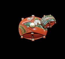 Vintage Japanese OBIJIME OBIDOME Original Plastic Setting with Pearl and Abalone