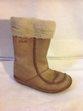 Girls Clarks Brown Leather Boots Size 8G