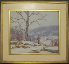 ANTIQUE CHICAGO AMERICAN IMPRESSIONIST BRANDNER BROWN COUNTY IN WINTER PAINTING
