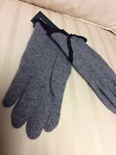 Ralph Lauren Women's Gray Wool/ Cashmere Bend Touch Screen Gloves W/ Ruffle