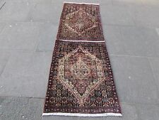 Old Traditional Hand Made Persian Rugs Oriental Blue Wool Long Runner 192x76cm