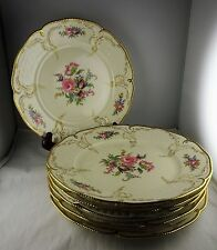 """Six Rosenthal China Diplomat 10"""" Dinner Plates Floral, Gold Scroll, Beaded Trim"""
