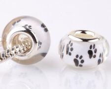5pcs Dog feet SILVER MURANO bead LAMPWORK fit European Charm Bracelet PP117