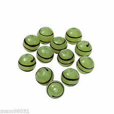 Beads Lampwork Glass ~ GREEN STRIPE / SWIRL 10mm Lot of 12