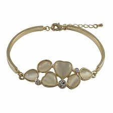 Gold Plated White Cat Eye Crystal Heart Womens Bangle Bracelet