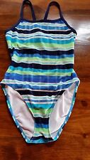 WOMEN SMALL SWIMSUIT, ONE PIECE,STRIPED,NYLON SPANDEX, THE FINALS