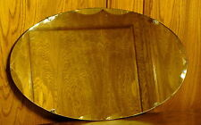 Vintage Oval Scalloped Beveled Glass Mirror with Fleur Clips