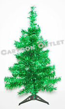 CHRISTMAS TREE 2 FT GREEN TINSEL TABLE TOP 60 TIPS RETRO STYLE LUSH TREE LOVELY