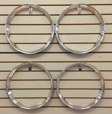 "16"" Chrome Stainless Steel HOT ROD STYLE RIBBED Beauty Rings TRIM RING SET Of 4"