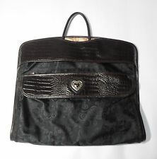 Brighton Garment Bag Brown Moc Croc Leather and Canvas Carry On Luggage