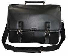 Kenneth Cole Collection Leather Flapover Portafolio/Business Briefcase Bag,Black