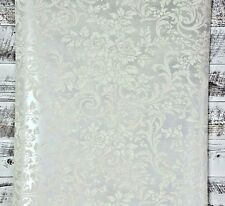 York Wallcoverings Traditional Floral Scroll Silver and White Damask Wallpaper