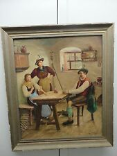 """Vintage German Art Painting Framed OIL on canvas Playing Cards"""" To win""""  Signed"""