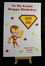 Personalised Handmade Superhero Happy Birthday Card Daddy, Dad, Son, Brother