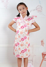 New Cute Girls Pink Floral Chinese Dress 5-6 Years