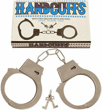 METAL HANDCUFFS LOVE CUFFS FANCY DRESS POLICEMAN POLICEWOMAN COSTUME HEN STAG