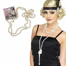 "Gatsby Charleston Moll Flapper 72"" Pearl Beads 20s Fancy Dress Costume Necklace"