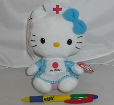 Peluche HELLO KITTY INFERMIERA LOVE JAPAN 16cm ORIGINAL TY Nurse PLUSH Nuovo