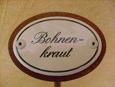 Kräuterschild Kräuterstecker Pflanzschild Emaille Emailschild Bohnenkraut 25cm