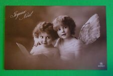 Young Angel Girls Wings-Antique VTG Joyeux Noel French Real Photo Postcard 1913