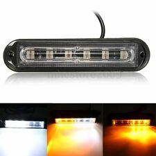 6LED White + Amber Car Trailer Boat Emergency Hazard Warn Flash Strobe Light Bar