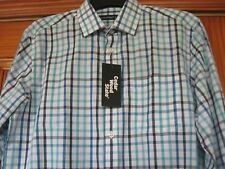 Men's Size Small Aqua Colours Check Long Sleeve Shirt Brand New with Tags