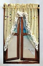 DOLLHOUSE MINIATURE  IVORY WINDOW CURTAIN...WC027