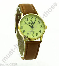 Gents Watch, Easy Read Glow in The Dark Dial, Brown Leather Strap, By Mabz Gold