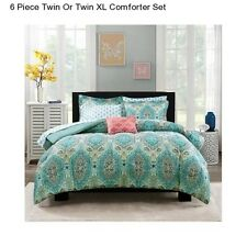 Girl's 6 Piece Paisley Twin Twin XL Size Comforter Set Bedding Bedspread Sheets