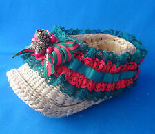 "Christmas bamboo wicker 7"" long clog boot red & green lace trim ornament decor"