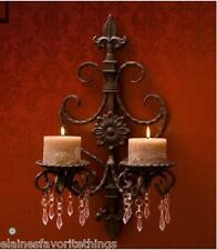 French Country Wrought Iron Beaded/Jeweled Fleur De Lis Candle Sconce