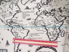 """US SELLER - 1 yard vintage retro world map 59"""" wide cotton linen sewing fabric"""