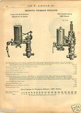1909 PAPER AD Improved Thompson Indicator Brass 1905 Pattern Schaffer Budenberg