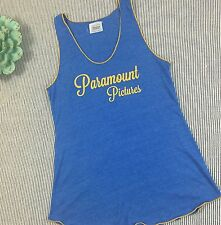 Paramount Pictures Hollywood Tank Top Womens Sz Large Blue Yellow Trim Shirt E14