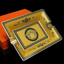 High-end Yellow Lace Pattern Ceramic Cigar Ashtray 2 Count fit for COHIBA Cigars