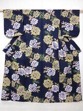 3917M08z450 Japanese Kimono Cotton YUKATA Navy Peony