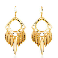 Fashion Gold sandy Circle Leafs Drop Dangle Long Spring Summer Earrings E936