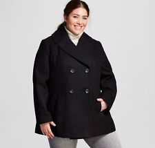 Womens Ava & Viv Plus Size 4X 28W 30W Jacket Pea Coat Wool Double Breasted Black