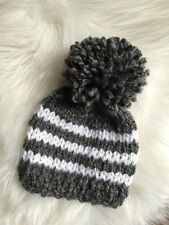 NEW Hand Knitted Baby Boy Beanie Hat Cap Newborn Stripe Gray White