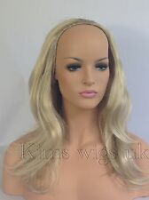 "TWO TONE BLONDE LADIES 3/4 WIG HALF WIG  FALL CLIP IN HAIR PIECE 18"" LONG UK"