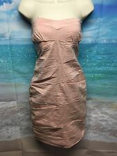 Snap Pink Strapless Sheath Dress Large NWT Padded Bra Party Club Knee #176