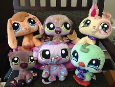 Littlest Pet Shop Plush Monkey Bunny Rabbit Dog Bird Bear Lot Of 6