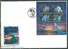 CENTRAL AFRICA  2013 CRICKET HCOOK CLARKE DHONI & VILLIERS  SHEET FDC