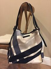 Burberry grey/blue/white Check canvas Tote Shoulder bag Handbag