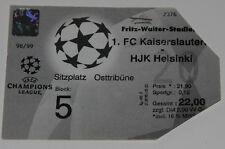 Ticket for collectors CL FC Kaiserslautern Germany HJK Helsinki Finland 1998