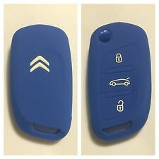 CITROEN C1 C2 C3 C4 C5 DS4 DS5 C0 BLUE CAR FLIP KEY SILICONE COVER CASE REMOTE