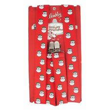 NEW men WEMBLEY red SANTA HEAD adjustable SUSPENDERS poly CLIPS 1-size fits most