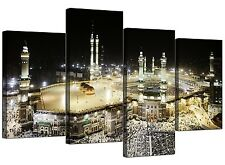 Islamic Canvas Pictures of Mecca Kaaba at Hajj for Bedroom - Set of 4 B&W