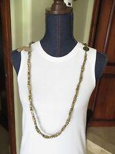 Multi Strand Necklace Kaki Cord and Gold Finish Multi Link Chain Design